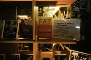 Copy of Fat Activism in the window of Gays the Word
